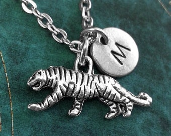 Tiger Necklace Tiger Jewelry Personalized Jewelry Tiger Pendant Necklace Initial Necklace Tiger Charm Necklace Animal Jewelry Big Cat Gift