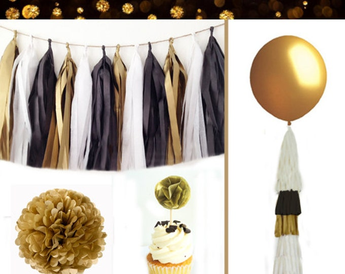"New Years Party Decorations, New Years Party Kit,  Black and Gold Party Kit, Tassel Garland, Tissue Paper Poms, 36"" balloon"