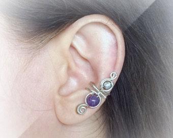 Silver Ear Cuff Amethyst Ear Wrap February Birthstone Ear Wrap