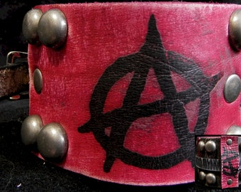 Wastelander Anarchy Leather Cuff - Handmade Post Apocalyptic Antiqued Distressed