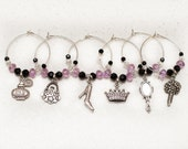 Girls Night Out, ladies, wine charms, set of 6, ships free