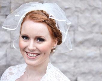 Satin veil, mini veil, wedding veil, bridal veil, tulle veil, veil with satin, two tier veil, ivory veil, short veil, 5mm satin bias binding