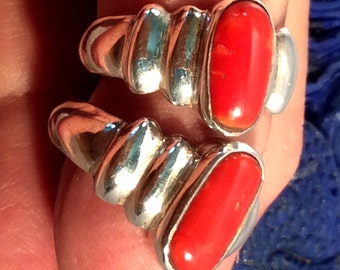 Size 7, 7.5 or 8 Sterling Silver Ring, Red Coral. free US ship 40.00 ea