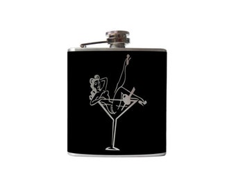Pin Up Girl Flask- Personalized, Custom- you pick COLOR, SIZE - Waterproof Vinyl, Freezer Safe