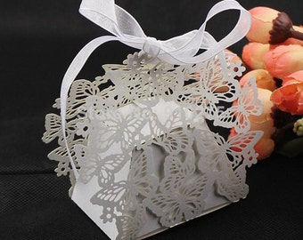 Butterfly Wedding Favor Boxes - White (25)