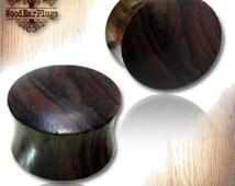 Pair Organic Sono Wood Plugs Double Flare Ear Plug Convex Saddle Tribal Plugs Sizes 12g, 8g, 6g, 4g, 2g, 0g, 00g, 0000g, 12mm Wooden Gauges