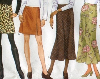 1990s Misses A-line Skirt Pattern Butterick 5279 Slim or Flared Varied Lengths Size 8 10 12   UNCUT