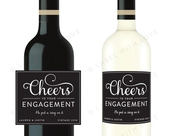 Custom Engagement Party Wine Bottle Labels (Set of 6) Weatherproof Removable Congratulations Bride & Groom Gift Rehearsal Dinner