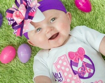 My 1st Easter - Girls Chevron Applique First Easter Shirt & Matching Hair Bow Set