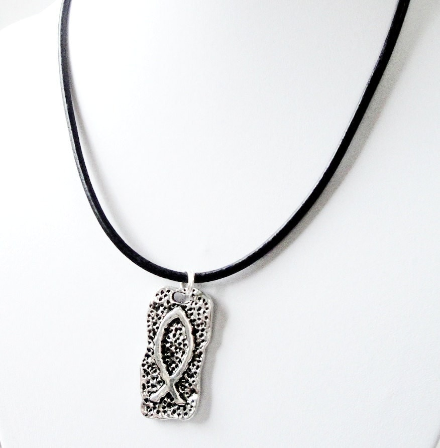 Silver fish jesus necklace silver ichthys christian fish for Jesus fish necklace