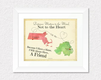 Special Birthday Gift Print for Sister, Personalized Map Gift, Going Away Gift, Long Distance Gift, Sister Quote, Choose Your Places