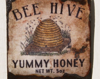 Miniature Dollhouse Vintage Inspired Bee Hive Yummy Honey Tin Sign