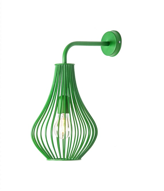 Green wire wall lamp hand made lighting fixture for home