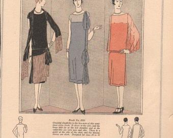 Vogue magazine color designs for dressmaking circa 1920s, 2-sided prints - fash 224