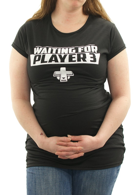 Waiting on Player 3 geek Maternity T-Shirt Clothes Top - pbelly print - Made From Bamboo - SUPER SOFT & Stretchy