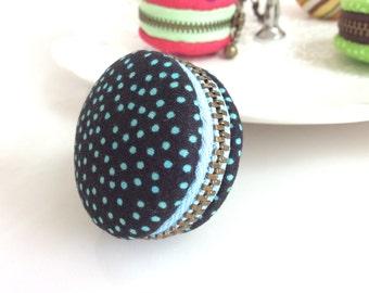 Macaroon keychain / Macaron keychain/ Macaron coin purse / Macaroon coin purse (dark blue with baby blue polka dots)