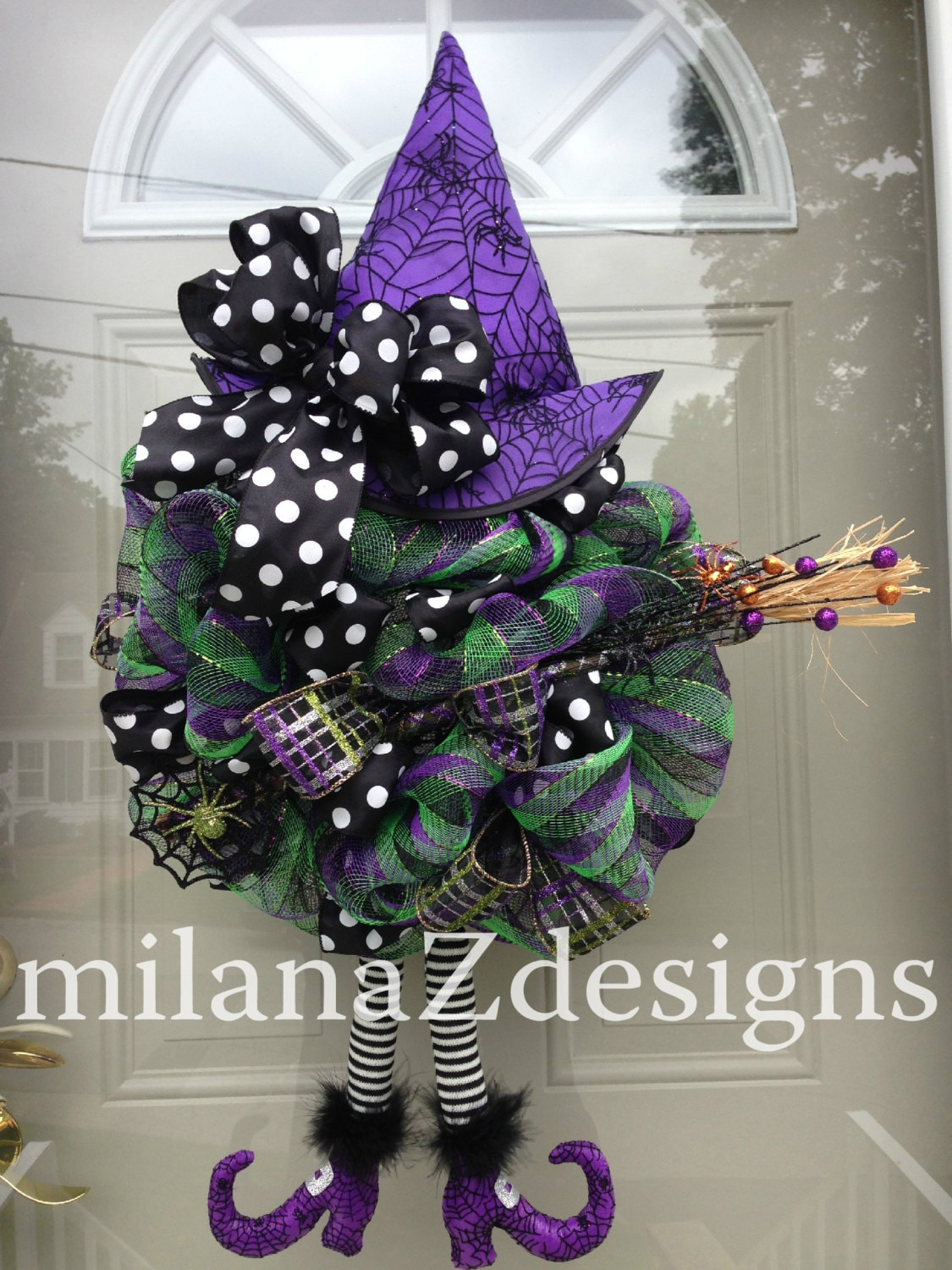 Halloween deco mesh wreath fall wreath purple witch wreath for Deco decorations