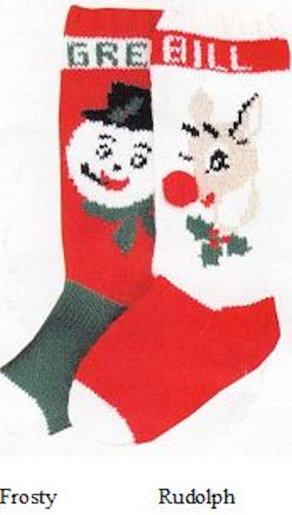 Knitted Christmas Stocking Patterns Personalized : Items similar to Personalized Hand Knitted Christmas Stocking on Etsy