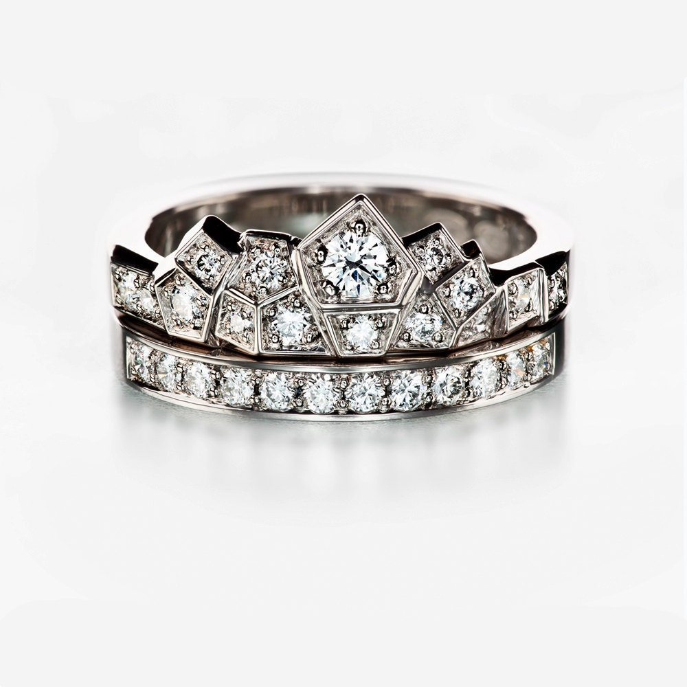 unique engagement set crown wedding band set modern wedding