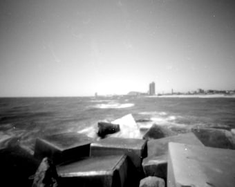 Sea Blocks, 6x6cm analògic craft pinhole black and white photo.