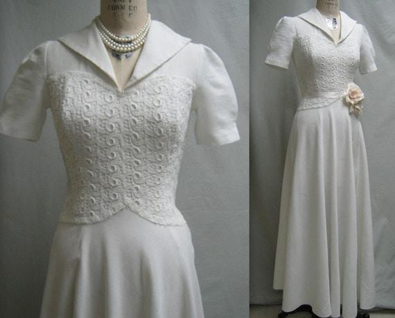 Vintage 40s Retro WEDDING Prom DRESS Cotton Pique Guipure LACE