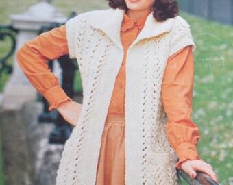 Ladys chunky bulky knit sleeveless cardigan vintage knitting pattern pdf INSTANT download pattern only pdf 1970s