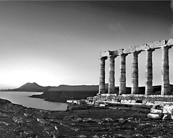 temple photo, greece card, temple card, ancient ruins card, panoramic black & white photo note card, temple of poseidon, sounion, greece