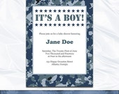 Camo Baby Shower Invitation - Navy Camouflage Typography Printable Couples Invites - DIY Editable Text - Instant Download Word .doc Pdf