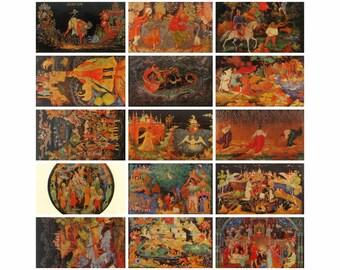 Palekh,  Set of 15 Soviet Postcards, Russian Lacquer, Art, Miniature, Print, Soviet Union Vintage Postcard, USSR, Unused Postcards, 1974