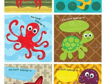 Bookplate, Children's Book Labels, Sea Creatures, Book Plates for Kids, Book Name Labels, Free Shipping