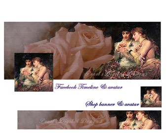 Shop Banner & Facebook cover with profile, Instant download, Blank, Timeline Cover, Banner and Avatar, Garden Roses,  DIY
