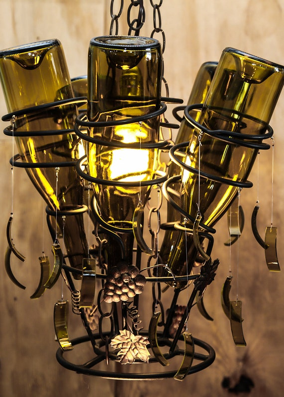 Upcycled wine rack and bottles turned into hanging by llewminate - Wine rack shaped like wine bottle ...
