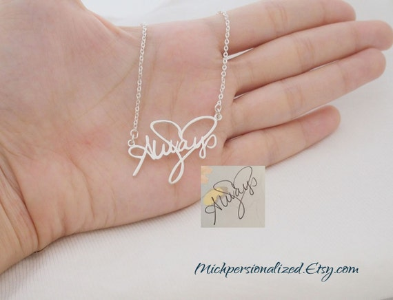 SALE- Personalized Signature Necklace - Sterling Silver Name Necklace - Your Handwriting Jewelry- Bridesmaid Gift- Christmas Gift