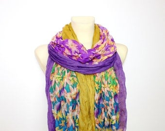Boho Scarf Fringe Floral Scarf Boho Fabric Scarf Floral Print Scarf Gift for Mom Mothers Day from Son Daughter Husband Grandmother Gifts