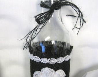 Decorative Glass Burlap Wrapped Bottle  (SHIPS FREE)