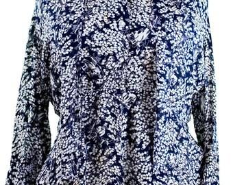 1940s Plus Size Large Extra Large Rayon Blouse Navy Blue Floral Peplum Curvy Floral Retro Pin Up Rockabilly Voluptuous Shirt Top Preppy Mod