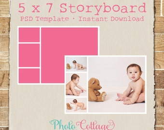 5 x 7 Photography Storyboard Template, Photography Template, Photographer Blog Templates, Blog Board Template, Digital Collage