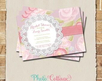 Shabby Chic Bridal Brunch Invitation, Bridal Shower Invitation, Floral Invitation, Lace Invitation, Vintage Shower Invitations BS167