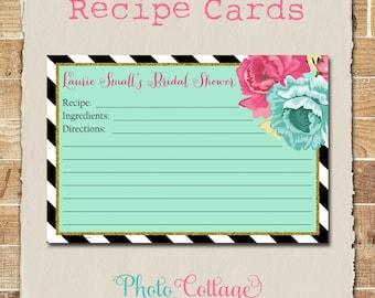 Recipe Cards, Bridal Shower Recipe Card, Glitter Gold Kitchen, Recipes, Recipe Card, RC102