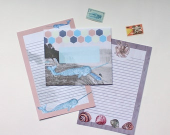 "Stationery Set - ""Narwhals Over Niagara"" - 5 Envelopes & 10 Writing Sheets"