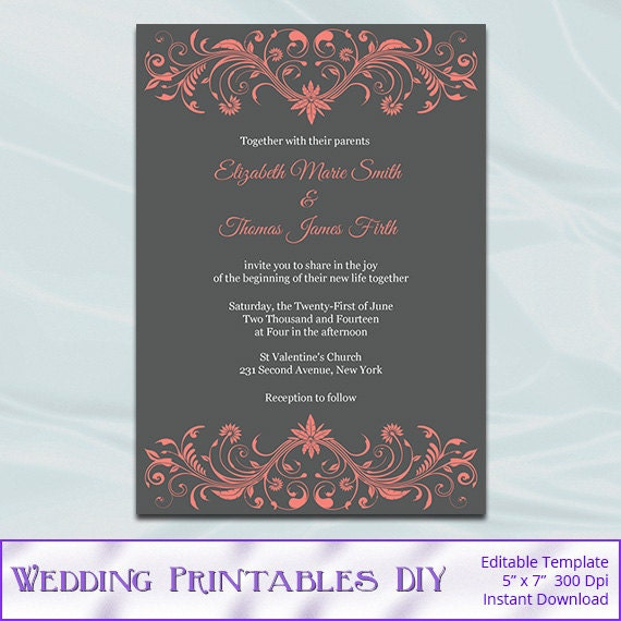 Coral Wedding Invitations: Coral And Gray Wedding Invitation Template Diy Printable