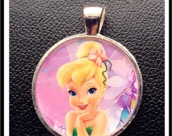 Tinkerbell necklace pendant Inspired Pendant charm cabochon for Chunky Bubblegum necklaces Tinkerbell pendant Tinkerbell jewelry