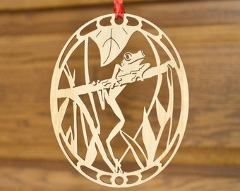 Wood Tree Frog ornament woodcut Tree frog decoration