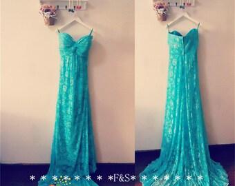 Lace Bridesmaid Prom Dress,Blue Bridesmaid Dress,Turquoise Lace Prom Evening Dress,Bridesmaid Dress,Teal Lace Dress,Bridesmaid Dress