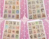 4 Sheets of Vintage style Alice in Wonderland Stamp Stickers ideal for card making and scrapbooking