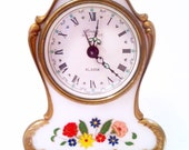 "Lovely Vintage Musical Alarm Clock - Made in Germany ""Raindrops Keep Falling on my Head"" Shabby Country Chic Floral Gold White Red Yellow"