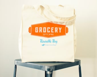Grocery Store Tote - 100% Organic Cotton Reusable Shopping Bag - Made in USA