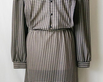 Vintage Sears Black and Tan Hounds-tooth Dress