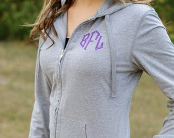 Monogram Zip Up Jacket | Monogram Hoodie | Full Zip Hoodie | Lightweight Jacket | Monogrammed Jacket | Gift for Her | Gifts under 30