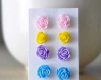 Rose Resin Studs Earrings, Pink-Yellow-Violet-Blue 4 Pairs, Resin Summer, Spring, Romantic Jewelry, Tiffany Blue